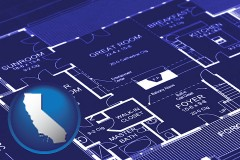 ca map icon and a house floor plan blueprint