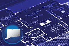 ct map icon and a house floor plan blueprint