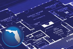 fl map icon and a house floor plan blueprint