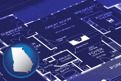 ga map icon and a house floor plan blueprint