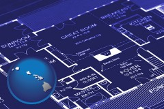 hi map icon and a house floor plan blueprint