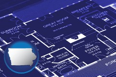 ia map icon and a house floor plan blueprint