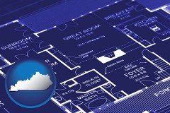 ky map icon and a house floor plan blueprint