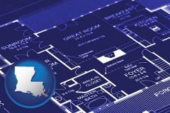 la map icon and a house floor plan blueprint