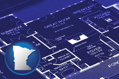 minnesota map icon and a house floor plan blueprint