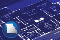 mo map icon and a house floor plan blueprint