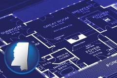 ms map icon and a house floor plan blueprint