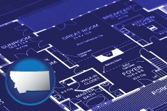 mt map icon and a house floor plan blueprint