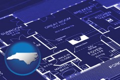 nc map icon and a house floor plan blueprint