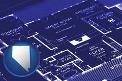 nv map icon and a house floor plan blueprint