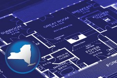 ny map icon and a house floor plan blueprint