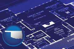 ok map icon and a house floor plan blueprint