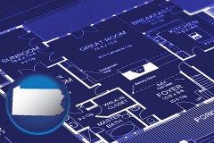 pa map icon and a house floor plan blueprint