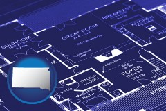 sd map icon and a house floor plan blueprint