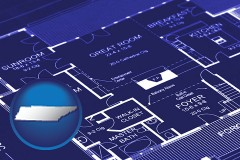 tn map icon and a house floor plan blueprint