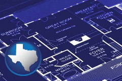 tx map icon and a house floor plan blueprint
