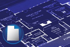 ut map icon and a house floor plan blueprint