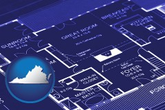 va map icon and a house floor plan blueprint