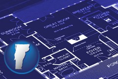 vt map icon and a house floor plan blueprint