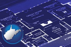 wv map icon and a house floor plan blueprint