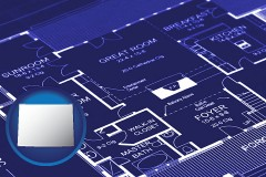 wy map icon and a house floor plan blueprint