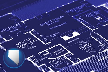 a house floor plan blueprint - with Nevada icon