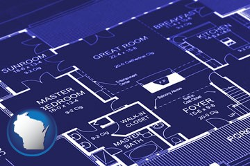 a house floor plan blueprint - with Wisconsin icon