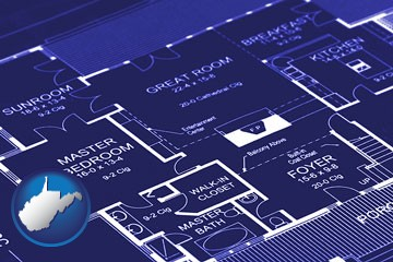 a house floor plan blueprint - with West Virginia icon