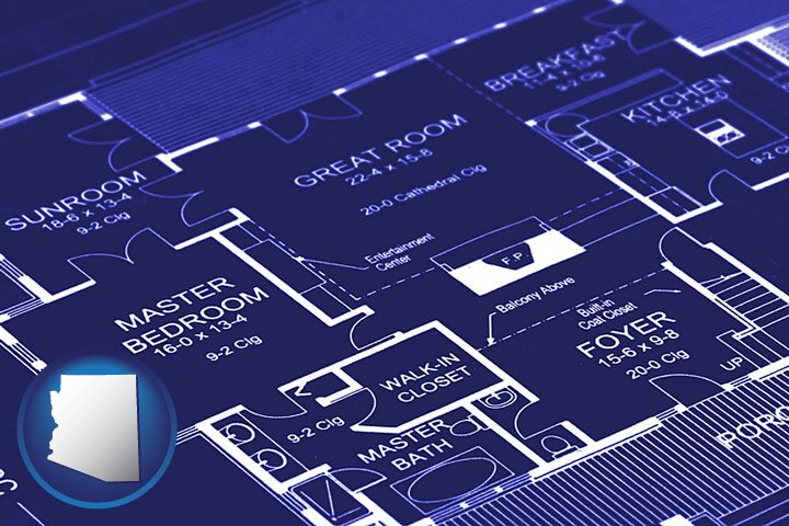 Blueprinting in arizona a house floor plan blueprint with arizona icon malvernweather Choice Image