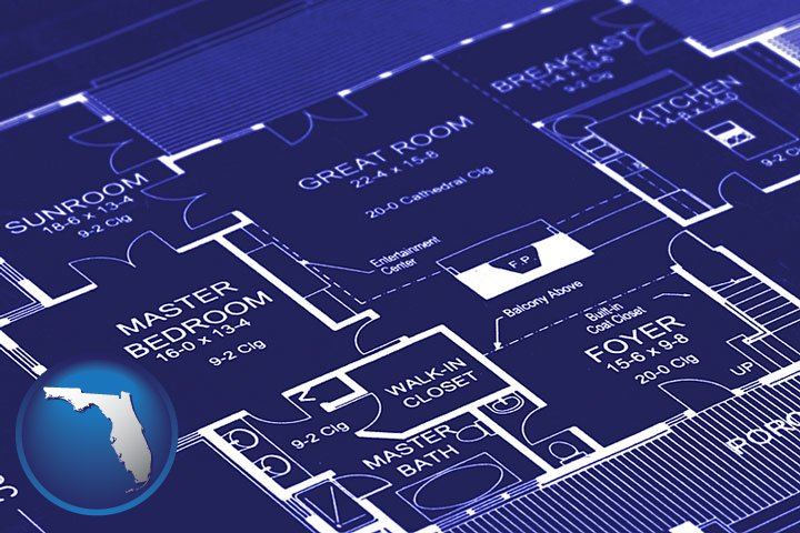 Blueprinting in florida a house floor plan blueprint with florida icon malvernweather Choice Image