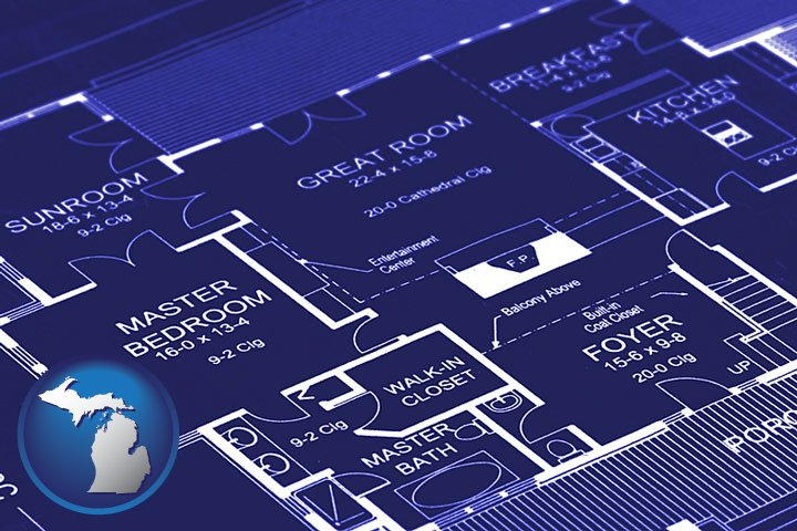 Blueprinting in michigan a house floor plan blueprint with michigan icon malvernweather Images